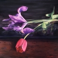 "<h5><em>Flowers of Spring</em> <strong>•</strong> 40"" x 40"" oil on canvas</h5>"