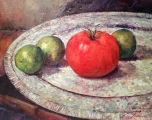 "<h5><em>Still Life Tomato</em> <strong>•</strong> 14"" x 11"" oil on canvas</h5>"