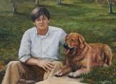 """<h5><em>Andrew Wilson & His Beloved Dog</em> <strong>•</strong> 30"""" x 40"""" oil on linen</h5>"""