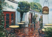 "<h5><em>Carmel Coffee Shop</em> <strong>•</strong> 24"" x 18"" oil on canvas <strong>•</strong> $975 Framed</h5>"