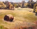 "<h5><em>Hay Rolls in Lavergne</em> <strong>•</strong> 12"" x 9"" oil on canvas</h5>"