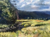 "<h5><em>British Columbia Morning Mist</em> <strong>•</strong> 14"" x 11"" oil on panel <strong>•</strong> $425 Framed</h5>"