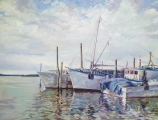 "<h5><em>Fishing Boats of Cortez</em> <strong>•</strong> 48"" x 36"" oil on canvas</h5>"