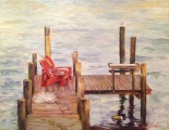 "<h5><em>Red Chairs on Dock</em> <strong>•</strong> 12"" x 9"" oil on canvas</h5>"