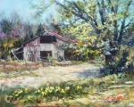 "<h5><em>Kent's Barn in Spring</em> <strong>•</strong> 40"" x 30"" oil on canvas</h5>"
