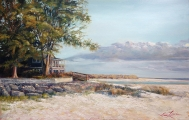 "<h5><em>North Shore Anna Marie Island Home</em> <strong>•</strong> 36"" x 24"" oil on canvas</h5>"