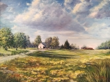 "<h5><em>The Russell Family Farm</em> <strong>•</strong> 48"" x 36"" oil on canvas <strong>•</strong> $1,250</h5>"