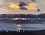 "<h5><em>Sunset in Ventura, CA</em> <strong>•</strong> 14"" x 11"" oil on canvas <strong>•</strong> $325.00</h5>"