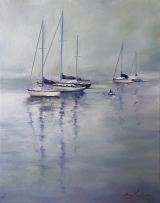"<h5><em>The Boats</em> <strong>•</strong> 24"" x 20"" oil on canvas</h5>"