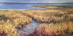 "<h5><em>Sawgrass Charleston, SC</em> <strong>•</strong> 20"" x 48"" oil on canvas</h5>"