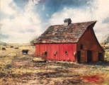 "<h5><em>The Barn</em> <strong>•</strong> 20"" x 16"" oil on canvas</h5>"